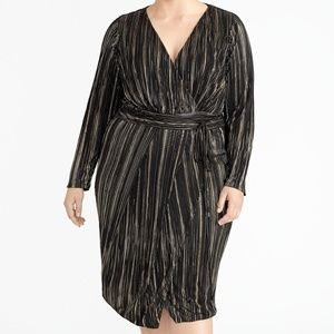 RACHEL Rachel Roy Pleated Faux Wrap Sheath Dress